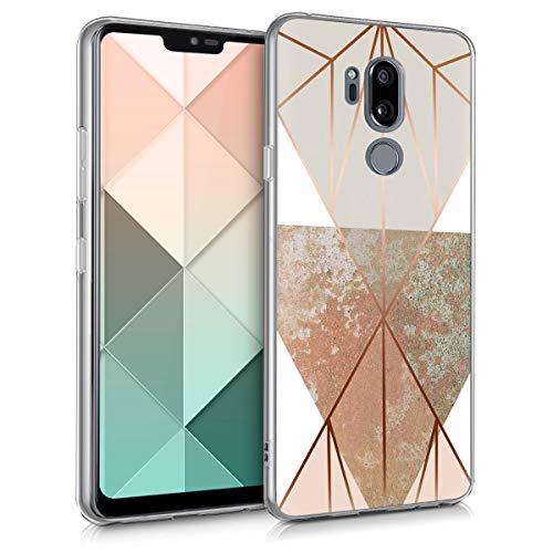 kwmobile Cover Compatibile con LG G7 ThinQ/Fit/One - Stampa UV in TPU Bordo Trasparente - Custodia Protettiva - Giochi di Triangoli Beige/Oro Rosa/Bianco