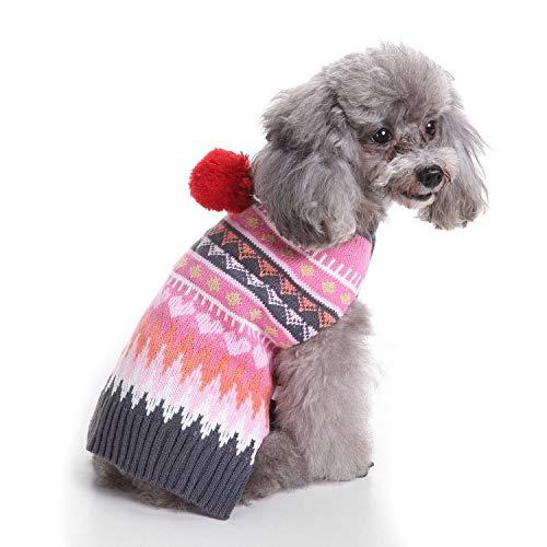 HVTKL hond trui huisdier kerst trui gebreide coltrui huisdier kleding trui hond trui (kleur: Rose rood, Maat : XL)
