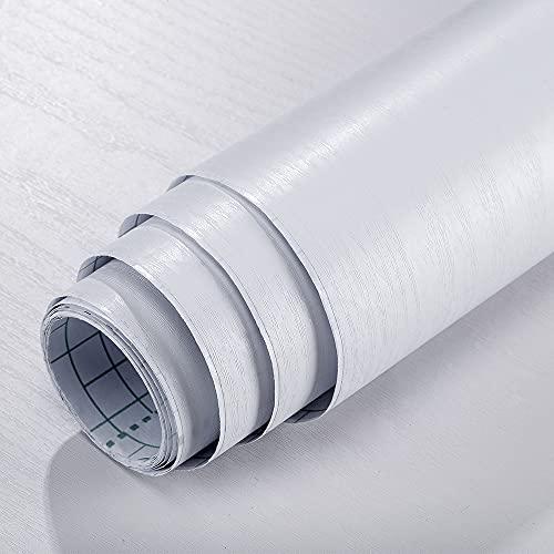 DMAXUN Lavabile Carta da Parati Autoadesiva Effetto Legno 40x300cm, Carta Adesiva per Mobili Camera Letto Muro Cucina Pellicola Decorativa Addensare bianca