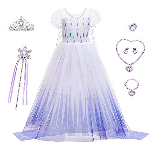 SZ-TONDA Kids Queen Costume Dance Dress – Girls Snow Princess Act2 Halloween Birthday Party Cosplay Accessory Short Seelve