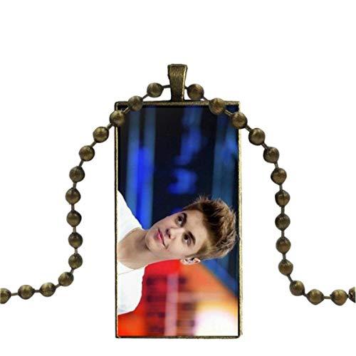Uofr para Mujer, Regalo de Boda, cabujón de Cristal de Color Bronce con Colgante en Forma de rectángulo, Gargantilla, Collar, Estrella del Pop, Justin Bieber