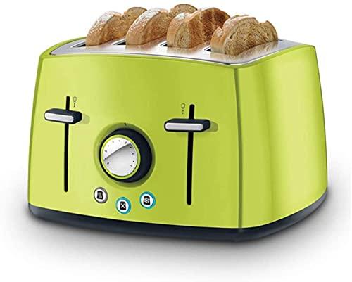 Profesión tostadora, 4 rebanadas pan hornear máquina de acero inoxidable tostadora de pan casera sándwich, verde