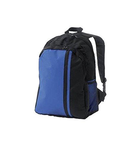Sac à dos en toile nylon 44 x 30 x 19 cm de couleur Noir/Bleu - Visiodirect -