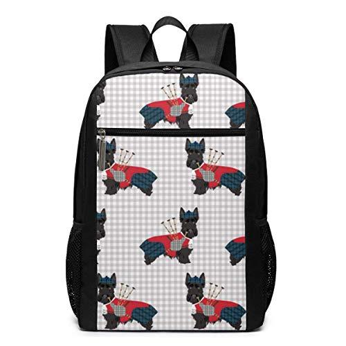 ZYWL Scottie Hund mit Dudelsack Rucksack, Business Durable Laptop Rucksack, Wasserbeständige College School Computer Tasche Geschenke für Männer Frauen, 17in X 12in X 6in, Schwarz