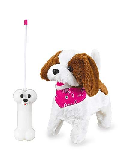 Jamara -Lucky RC Plüschhund 27MHz- Weiches Fell, bewegt die Schnauze und Kopf, wedelt mit dem Schwanz, realistisches Hundebellen, Weiß-Braun