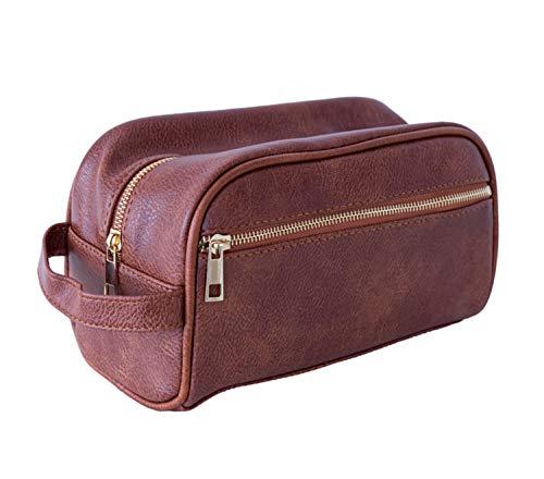 LEUCHTBOX Neceser de aseo para hombre, de piel sintética, estilo clásico, vintage, para viajes, marrón (Marrón) - LB00578