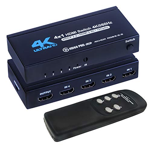 4K HDMI Switch 4x1, 4K@60Hz 4 in 1 Out HDMI Switcher Selector with IR Remote Control, Supports HDCP 2.2 4K@60Hz UltraHD HDR10 3D HD1080P Dolby DST, HDMI Splitter for PS4 Xbox Apple TV Fire Stick