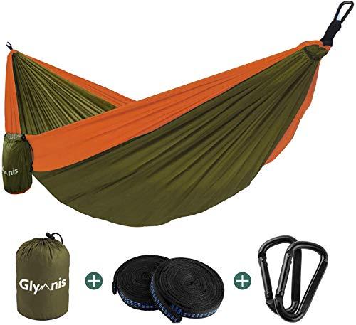 Glymnis Amaca da Giardino Amaca da Campeggio Capacità di Carico 300kg con Kit di Fissaggio Tessuto 210T 275x140 cm per Campeggio Giardino Escursioni Verde Militare-Arancione