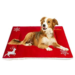 Moonpet Christmas X-mas Theme Pet Cat Kitty Dog Bed Mat Pad – Super Soft Warm Thick Crate Kennel Cage Sofa Mat – Machine Hand Washable Skin Friendly Pet Mattress for Small Medium Large Dogs Sleeping