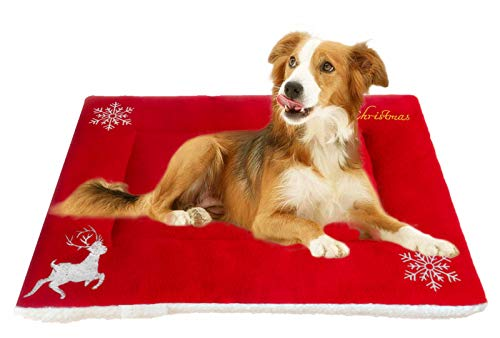Moonpet Christmas X-mas Theme Pet Cat Kitty Dog Bed Mat Pad - Super Soft Warm Thick Crate Kennel Cage Sofa Mat - Machine Hand Washable Skin Friendly Pet Mattress for Small Medium Large Dogs Sleeping