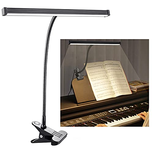 LED Piano Lamp, CELYST Music Stand Light with Clamp, 3 Lighting Modes, 10 Brightness Levels, 5W Flexible Gooseneck Piano Light for Upright Piano, Grand Piano, Electric Piano, Painting, Reading