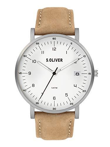 s.Oliver Herren Analog Quarz Uhr mit Echtes Leder Armband SO-3993-LQ