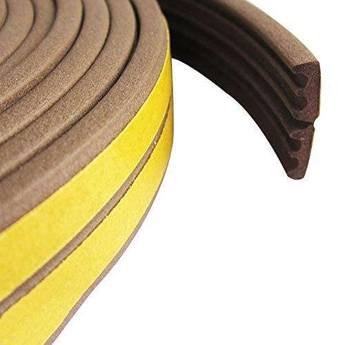 1 ST 5M D type afdichtstrip Zelfklevende afdichtstrips Schuimtap Excluder Zelfklevende raamdeurafdichting Strip Hardware-instrumenten, bruine E-strips, 10M