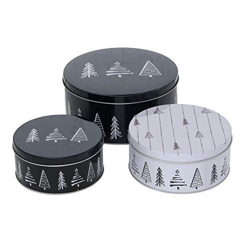 CasaJame 3er Set Metall Keksdose Plätzchendose schwarz weiß mit Tannenbaum Sortiert H6-9cm