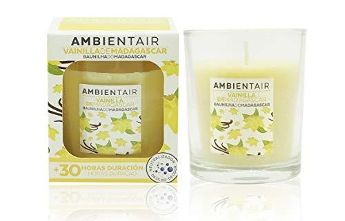 Ambientair. Vela aromática Vainilla. Vela perfumada con cera vegetal y perfume natural con una duración estimada de 30 horas. Disfruta de la aromaterapia en tu casa con esta vela en vaso de cristal.