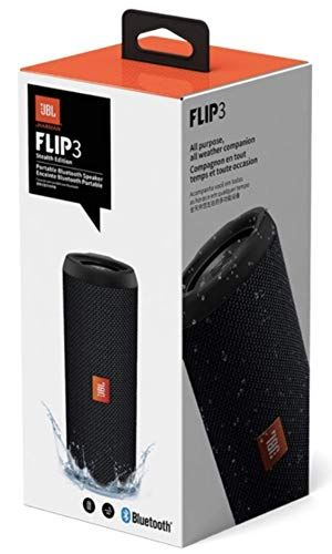 JBL Flip 3 Stealth Edition Waterproof Portable Bluetooth Speaker with Rich Deep Bass Black (Renewed)