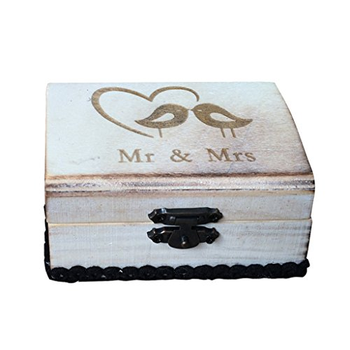 Caja de Madera de Anillos de Novios Sostenedor de Anillo de Ceremonia de Boda Caja de Joyería con Musgos Secados Removibles - Mr y Mrs con pájaros