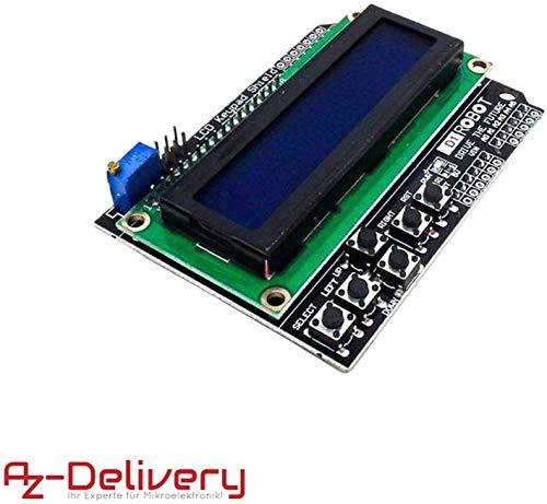 AZDelivery HD44780 1602 LCD module afficheur bleu Keypad 2 x 16 caractères de couleur blanche, compatible avec Arduino incluant un EBook!