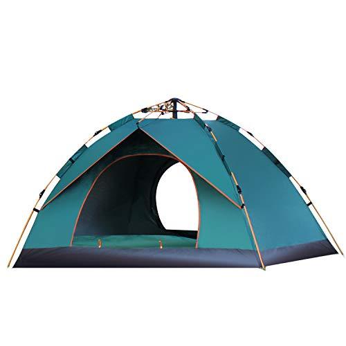 thematys Outdoorzelt leichtes Pop Up Wurfzelt Zelt in Grün und Blau mit Tragetasche - perfekt für Camping, Festivals und Urlaub (1-2 Personen, Style 1)
