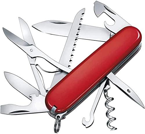 Navaja multifunción de color rojo, plegable, con abrebotellas, destornillador, herramienta multifunción, ideal para camping (11 funciones)