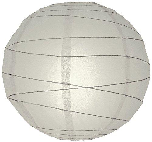 "Quasimoon PaperLanternStore.com 20"" Gray/Grey Round Paper Lantern, Crisscross Ribbing, Hanging Decoration"