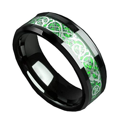 HIJONES Anillo Celtic Dragon Verde Carbon Fiber Black 8mm Boda De Los Hombres Acero Inoxidable Tamaño 10