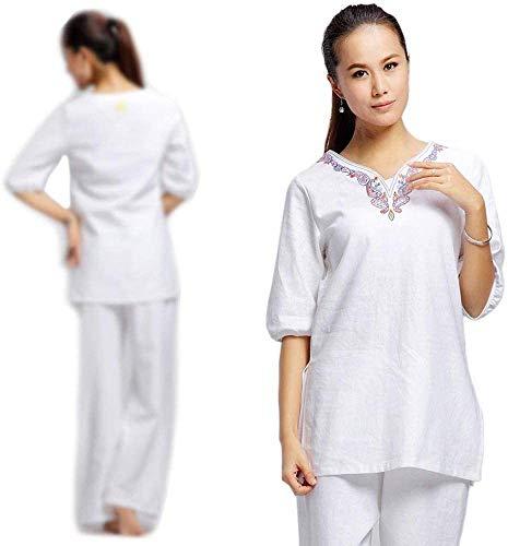 KUXUAN Uniforme De Tai Chi para Mujer Trajes De Tai Chi Tradicional Chino Traje De Entrenamiento De Rendimiento De Competición De Ejercicio Matutino,White-XL
