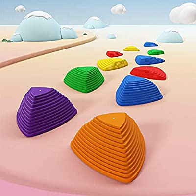 BUCHI Kids Balance Stepping Stones,11 pcs Toddler Jumping Step River Stones with Non-Slip Rubber Bottom,Balancing Stones for Kids Indoor Outdoor Play Equipment by BUCHI
