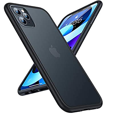 TORRAS Shockproof Compatible for iPhone 11 Pro Case, [Military Grade Drop Tested] Translucent Hard Matte Case with Soft TPU Bumper Slim Phone Case Compatible for iPhone 11 Pro, Matte Black