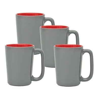 Culver SLAT Mug, 16-Ounce, Grey Red, Set of 4
