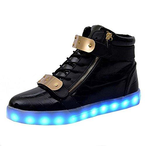 Padgene® Schuhe / Sneakers mit leuchtender Sohle, für Damen und Herren, aufladbar mit USB-Kabel, LED-Lichter, leuchten in 7Farben, schwarz, EU 41/UK 7
