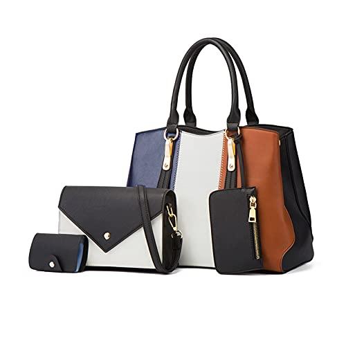 NICOLE&DORISトートバッグ 4点セット レディースバッグセット ショルダーバッグ 女性用カバン 底鋲付き クラッチ財布 型押し PUレザー 大容量 カードケース 人気 シンプル 通勤 旅行 就活 ブラック…