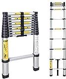 Telescopic Ladder, Multi-Purpose Folding Ladder Aluminium 2.6m/3.2m/3.8m/5m Portable Straight Ladder Max Capacity 150Killogram (3.2M)