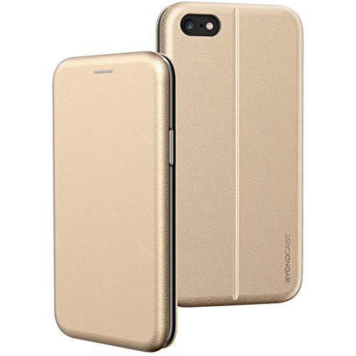 BYONDCASE Handyhülle iPhone 8 Hülle Gold, iPhone 7 Hülle [iPhone SE 2020 Hülle Deluxe Leder Flip-Case Klapphülle] Cover Schutzhülle kompatibel für iPhone 8/7 / SE 2020 Tasche
