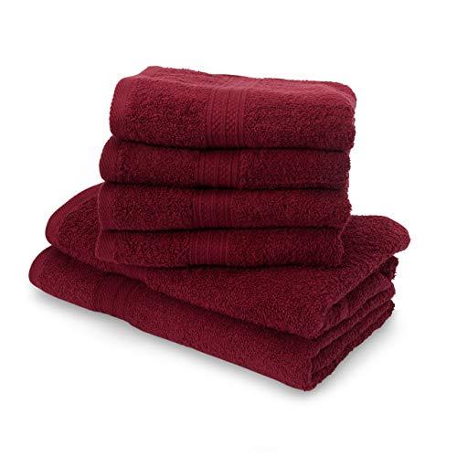 Lumaland Premium Set 4 Toallas (50 x 100) cm + 2 Toallas de baño (70 x 140 cm) Toalla de Rizo Gamuza Cereza 100% algodón 500 g/m² con Cinta
