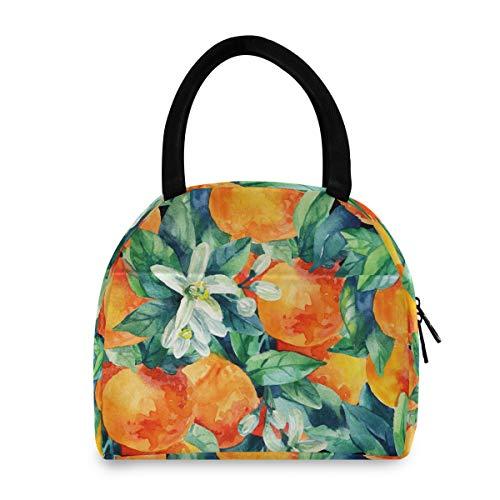 Bolsa de almuerzo para mujer con diseño de naranja mandarina para mujer reutilizable bolsa de asas enfriador aislado lonchera para escuela oficina picnic niños adultos niños