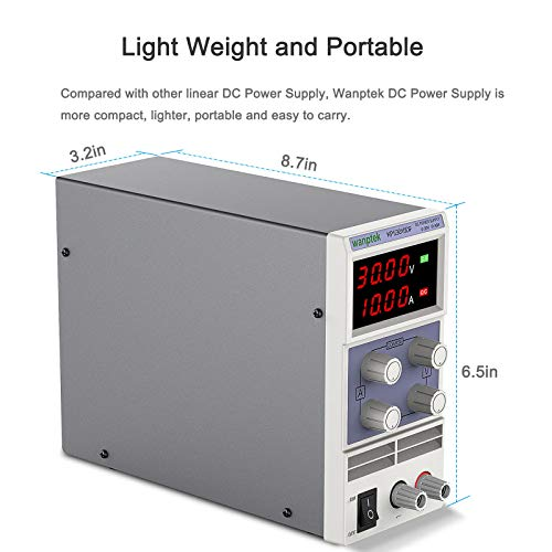 DC Power Supply Variable, (0-30V 0-10A) Adjustable Regulated Switching Power Supply with 4 Digital LED Display, Bench Power Supply with Coarse and Fine Adjustments