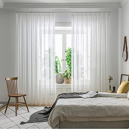 DotheDrape White Sheer Curtains Window Treatment Pinch Pleated Voile Curtain Panels for Bedroom and Living Room (50 x 84 inches Long, 1 Panel)