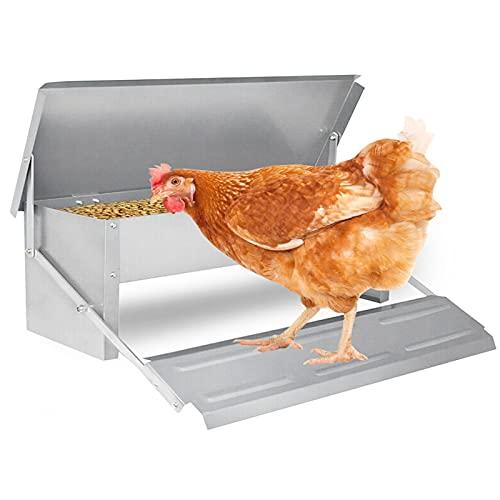 wolketon Hühner Futterspender 5kg, Futterautomat mit Deckel, Automatischer Futterspender für Hühner Geflügel, Hühner Futtertrog, Wetterfester Futtertröge Geeignet für Geflügel über 1 kg