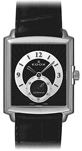 Edox Les bemonts Herren Uhr analog Schweizer Quarzwerk mit Leder Armband 72010-3-NBN