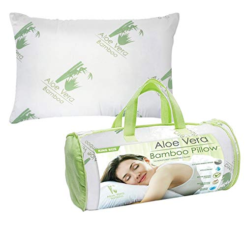 Country Club Aloe Vera Bamboo Pillow - Fluffy Memory Foam Hypoallergenic Cooling Comfort - King Size 1 Pack
