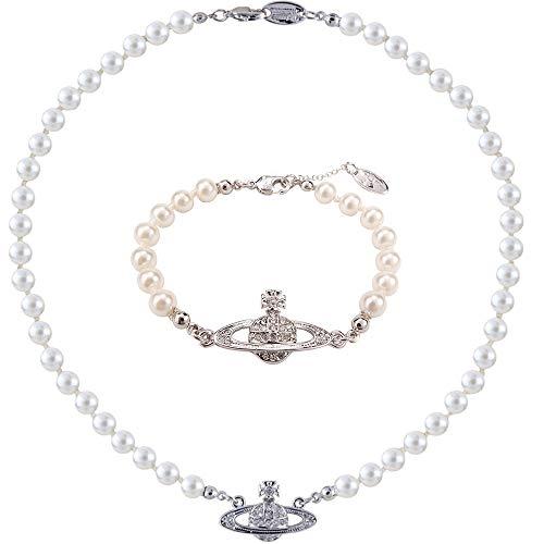 Collar y pulsera de perlas de Saturno, collares de cuentas de perlas blancas, diamantes de imitación de cristal, collar con colgante de planeta Saturno, pulsera