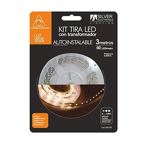 Silver Electronics 240326 - Kit tira LED de 3 metros con Control Remoto para regular la intensidad de la luz incluido