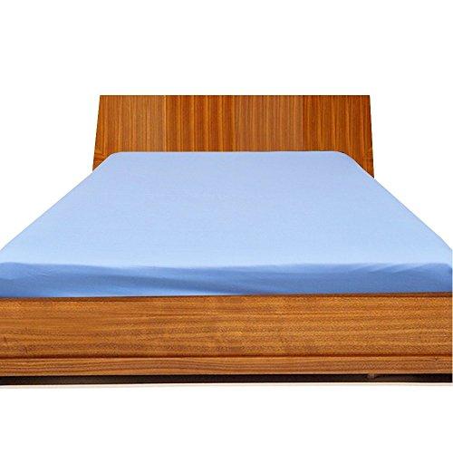 LUXURIOUS BEDDING Just Contempo - Sábana Bajera Ajustable (100% algodón Egipcio, 800 Hilos, elástica, se Adapta a colchones de hasta 15 Pulgadas) (Doble, Azul Claro)