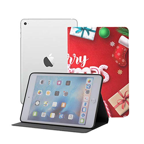 Compatible para iPad Mini 1/2/3 Funda, Slim Fit All Round Protect Cover Diseño de Pancarta navideña Ángulos de Soporte Merry Chistmas con Auto Sleep/Wake