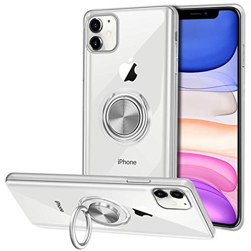 Vunake für iPhone 11 Hülle,Silikon TPU Slim Case mit 360 Grad Ring Ständer Bumper Handyhülle Fingerhalter Magnetische Autohalterung Weiche Transparent Schutzhülle Cover für iPhone 11 6.1 Zoll,Clear