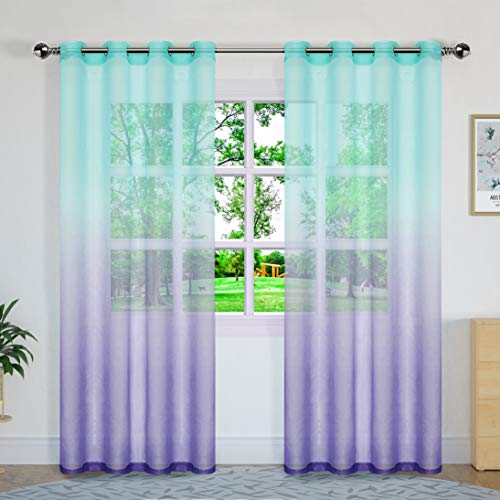 Sheer Curtain Panels Semi Curtains Gradient Sheer Curtains Voile Gauze Curtains,Grommet,Sets of 2 Panels,W52 × L84 Inch,Green to Purple