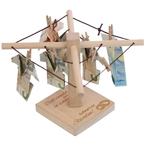 Geld-Wäschespinne (Hochzeit - Ringemotiv): Geld originell verpacken, mit romantischer Gravur - Geldgeschenk zur Hochzeit