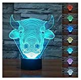 Novelty 3d vaca Bull Animal noche luz LED de 7 colores Cambio Interruptor táctil lámpara de mesa lámpara de mesa arte Escultura regalo San Valentín niños regalos