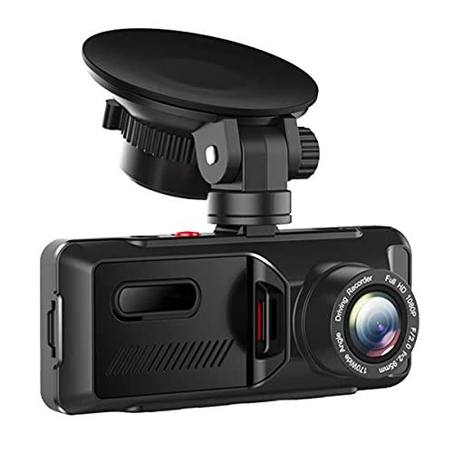healthwen 3.16 Pouces Avant et arrière Tableau de Bord Double caméra de Tableau de Bord 1080P pour Voitures Parking Surveillance de sécurité d'urgence détection de Mouvement Noir 3.16 Pouces